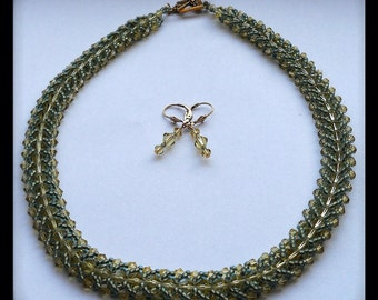 Green Beaded Necklace with Crystals & Matching  Dangle Earrings, Crystal Jewelry Set, Olive Green Necklace, Green Necklace Set