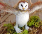 Needle Felted Animal, Barn Owl, needle felted Owl, wise owl, Waldorf toy, design by Borbala Arvai,made to order