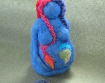 Needle Felted Gaia, Mother Earth, Felted Earth Mama, 3 inches, RAINBOW colors, diversity, fertility, Design by Borbala Arvai, MADE to order