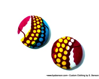 Fabric Covered  Button Earring - African Pink Yellow Blue