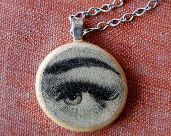 I See You Handmade OOAK Necklace With Wood Pendant of Vintage Photo of Woman Eye