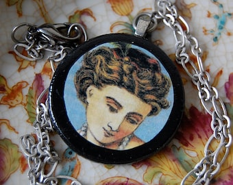 So Pretty Handmade Necklace with Wood Circle Pendant of Vintage Illustration of Lady Woman