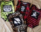 Custom Order Punk Newborn Baby Onesies stripes leopard plaid