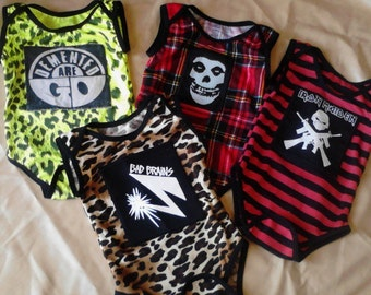 Custom Order Punk Newborn Baby Onesies stripes leopard plaid jfa gbh los crudos eskorbuto anthrax black sabbath ska