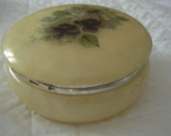 Vintage Italian Alabaster Hinged Lid Round Trinket or Jewelry Box with Decal of Violets