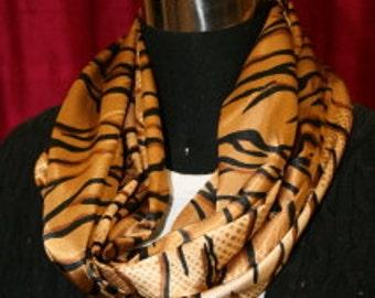 Tiger Print soft satin infinity scarf - Fabric- Circle scarf - Skin Print