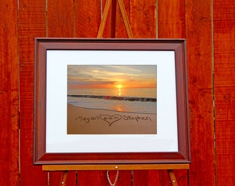 Unique Beach Wedding Gift- Sunset Names Written in the sand-  1st Year Anniversary Gift Paper - Bride & Groom Gift- Framed Photo