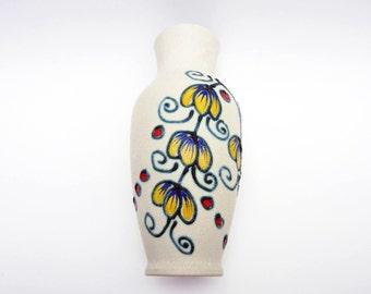 West German vintage ceramic VASE⎮flower floral decor⎮cobalt blue yellow red⎮fat lava⎮Art deco Art Nouveau