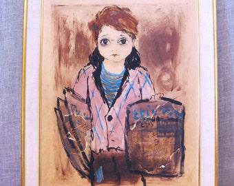 Child Portrait, Etienne Ret, Male, Fine Art, Vintage Art, Mid-Century, French, Child Painting, Male Portrait, Portrait, French Art, Vintage