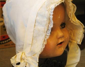 Baby Bonnet , Handmade , Silk Bonnet , Skull Cap , Baby Hat , Silk Baby Cap , Antique , Hand Sewn , Baby Bonnet , Cream Silk , Lace Trimmed