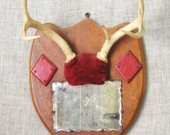 Antler Mirror , Wall Mirror , Deer Mount Mirror, Hunting Lodge, Cabin Decor, Folk Art Antler Mirror, Ranch Decor, Cabin Decor , Deer Horns