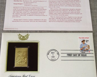 First Day Issue Stamp , Red Cross , Gold Stamp , Commemorative Stamp , Postage Stamp , Collectibles , Stamps , US Stamps , Postage Stamps