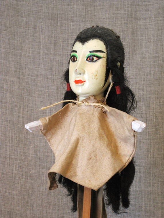 Asian Puppet on Stand / Puppet / Asian Doll / Asian Toy / Asian Character / Hand Puppet - Vintage Child