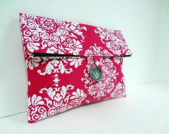 READY TO SHIP Fuchsia Bridesmaid Clutch Gray and Hot Pink Wedding Fuchsia Cosmetic Bag Maid of Honor Gift - Choose From Over 150 Fabrics