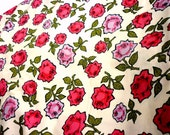 2 yards 20 Inches Graphic Rose Floral Cotton Fabric by Peter Pan Fabrics - Red, Pink , Black Olive and Lavender
