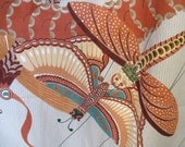 """Cohama Riverdale Screen Print  """"Regatta"""" Asian-Inspired Kites Upholstery Fabric, Moths & Dragons, 53"""" wide, by the Yard"""