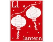 Children's Wall Art / Nursery Decor L is for Lantern Print