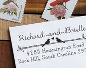 Custom Address Stamp - Eco Mount Rubber Stamp -Wedding Stamp - Rustic Two Birds in Love
