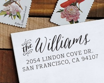 Self Inking Address Stamp - handwriting style - wedding personal housewarming gift - Williams