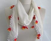 chiffon scarf - Oya Scarf- off white scarf -  handmade scarves tulip lace work