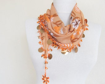 woman scarf - cotton scarf - turkish scarves - Oya Scarf -floral scarf -scarf accessories -