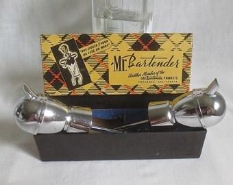 2 Vintage 1950's Mr Bartender Stainless Pour Spout Jiggers & One Original Box-Retro Barware
