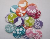 """set of 20 1"""" or 1.25 inch buttons  pin, flat, hollow or magnet back"""