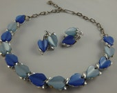 Vintage MCM Blue Thermoset Set Necklace and Earrings, Two-Tone Demi-Parure Lucite Moonglow Silvertone