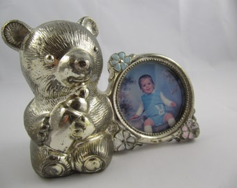 Vintage Bank and Frame Teddy Bear Metal Silvertone Child's Japan