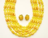 Sunny Yellow West Germany  5 Strand Necklace and Earrings
