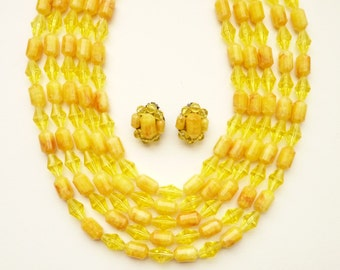 Vintage West Germany  5 Strand Bright Yellow Bead Necklace and Earrings