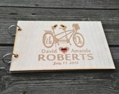 Bicycle Wedding Guest Book Wooden Guest Book Personalized Guest Book Bicycle Guest Book Rustic Wedding Guest Book Anniversary Wedding