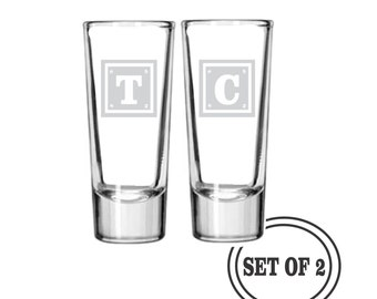 2 SHOT GLASSES Monogrammed Personalized Bride and Groom Wedding Gift Engraved Shot Glass Gift For Couple Christmas Gift