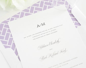 Classic and Simple Wedding Invitations - Preppy, Chic, Traditional, Purple - French Garden Wedding Invitations - Deposit to Get Started
