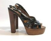 Vintage 70s Platform Heels Black Patent Leather Strappy Peep Toe Deadstock NOS High Heel Shoes