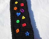 Plastic Bag Holder Black with Bright, Colorful, Shape Buttons, End of Year Teacher Gift, Colorful Nursery Decor, Mother's Day Present