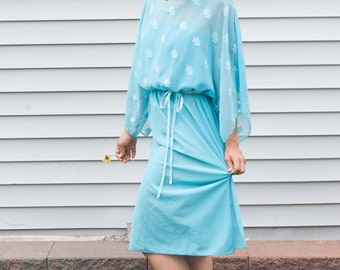 Lady in Blue Vintage 1970's Sheer Ladylike Spring Easter Midi Dress with Sleeves in Pastel