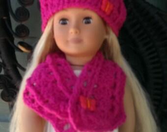 American Girl Crocheted Yummy Raspberry Hat and Cowl Set