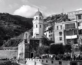 Fine Art Photography, Vernazza, Cinque Terre, Italy, village, boats, fishing, vintage, clock tower, black and white, 8x12