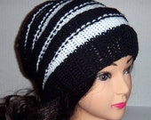 Beehive Accordion Hat, Knitted Hat in Black and White Stripes, Womans Accessories, Handmade Hat, Womans Slouchy Beanie, MADE TO ORDER