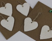 5  Handmade Small Rustic Hearts with Fabric Lace Imprint Christmas Tree Decorations
