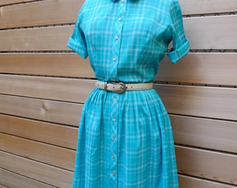 Vintage 50s 60s Turquoise Plaid Dress