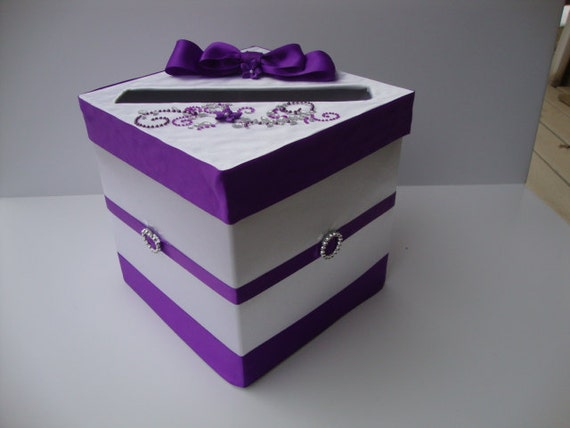 Small White And Purple Wedding Card Box