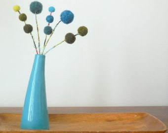 Felt Flowers.  Craspedia.  Olive green, teal blue wool pom pom flowers.  Felt balls blooms.  Billy balls.  Billy buttons.  Vase filler.
