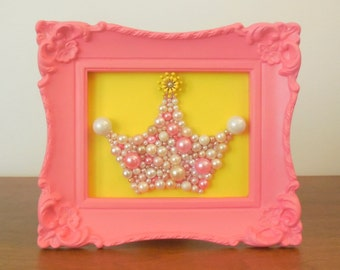 Mosaic Art.  Princess crown. Painted ornate frame.  Sparkle glitter picture.  Enamel Flower earring.  Pearl crown.  Peach Coral nursery