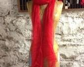 Red Extra long  Silk Gauze Scarf for Nuno Felting