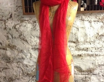 Red Extra long  Silk Gauze Scarf for Nuno Felting