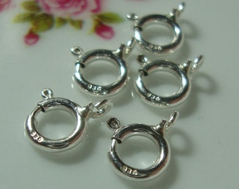 10 pcs, 5mm, 925 Sterling Silver Spring Open Ring Clasp