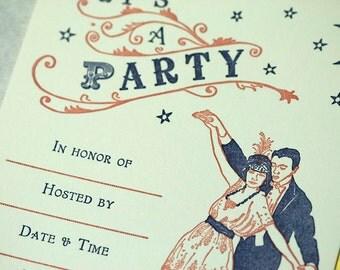 SALE - Letterpress Party Invitations - Fancy Dance -Fill in - 75% off