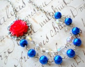 Royal Blue Necklace Red Flower Necklace Blue Statement Necklace Beadwork Pearl Necklace Royal Blue Jewelry Blue Bridesmaid Necklace